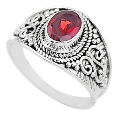 925 sterling silver 2.13cts solitaire natural red garnet oval ring size 9 t10154