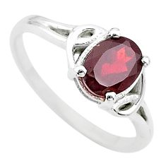 925 sterling silver 2.42cts solitaire natural red garnet oval ring size 9 t22289