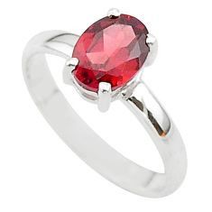 925 sterling silver 2.26cts solitaire natural red garnet oval ring size 9 t33709