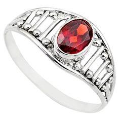 Silver 1.49cts natural cut garnet oval graduation handmade ring size 9 t9448