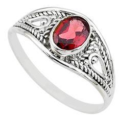 925 silver 1.42cts natural cut garnet oval graduation handmade ring size 9 t9648