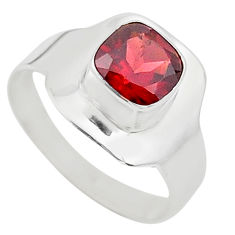 925 sterling silver 2.44cts solitaire natural red garnet ring size 8 t23157
