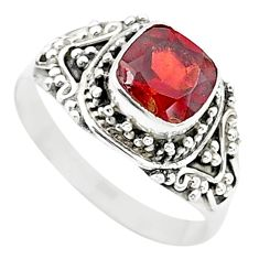 925 sterling silver 2.69cts solitaire natural red garnet ring size 9 t23147