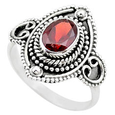 925 sterling silver 2.02cts solitaire natural red garnet ring size 7.5 t20005