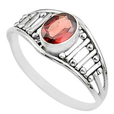 925 sterling silver 1.49cts solitaire natural red garnet ring size 7.5 t51985