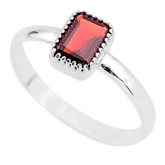 925 sterling silver 1.58cts solitaire natural red garnet ring size 9.5 t7420