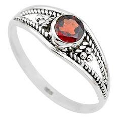 Silver 0.81cts natural cut garnet round graduation handmade ring size 9 t9332