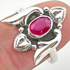 925 sterling silver 1.47cts solitaire natural red ruby heart ring size 8 t40757