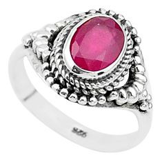 925 sterling silver 1.95cts solitaire natural red ruby oval ring size 6 t5287