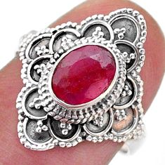 925 sterling silver 2.09cts solitaire natural red ruby oval ring size 7 t46593