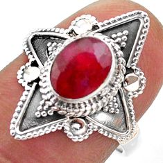 925 sterling silver 2.21cts solitaire natural red ruby oval ring size 7 t46614