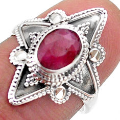 925 sterling silver 2.17cts solitaire natural red ruby oval ring size 7 t46616