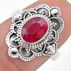 925 sterling silver 1.94cts solitaire natural red ruby oval ring size 7 t46656
