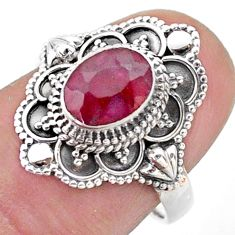 925 sterling silver 1.99cts solitaire natural red ruby oval ring size 7 t46680