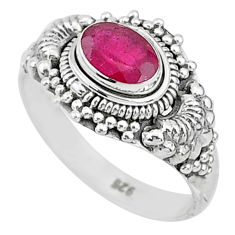 925 sterling silver 1.47cts solitaire natural red ruby oval ring size 7 t5427