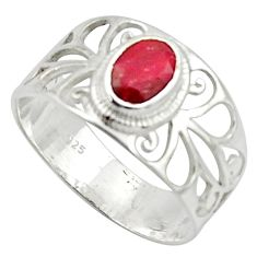 925 sterling silver 1.75cts solitaire natural red ruby oval ring size 8 r40829
