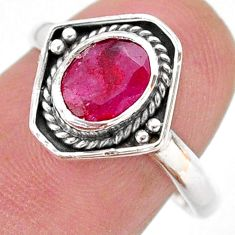 925 sterling silver 2.42cts solitaire natural red ruby oval ring size 8 t28393