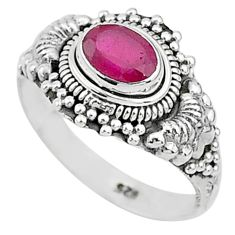 925 sterling silver 1.47cts solitaire natural red ruby oval ring size 8 t5411