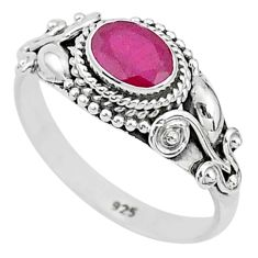 925 sterling silver 1.54cts solitaire natural red ruby oval ring size 8 t5437