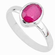 925 sterling silver 2.15cts solitaire natural red ruby oval ring size 8 t7304