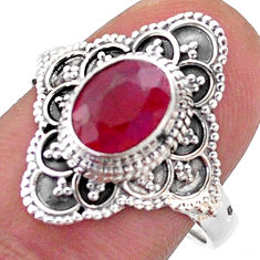 925 sterling silver 1.92cts solitaire natural red ruby oval ring size 9 t46596