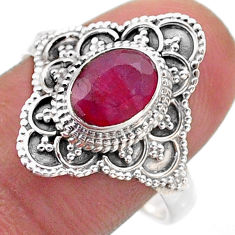 925 sterling silver 2.01cts solitaire natural red ruby oval ring size 9 t46638