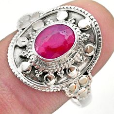 925 sterling silver 1.94cts solitaire natural red ruby oval ring size 9 t46695