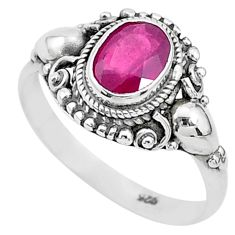 925 sterling silver 2.12cts solitaire natural red ruby oval ring size 9 t5327