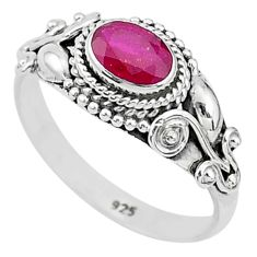 925 sterling silver 1.56cts solitaire natural red ruby oval ring size 9 t5420