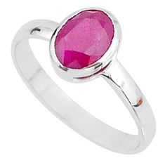 925 sterling silver 1.77cts solitaire natural red ruby oval ring size 9 t7308