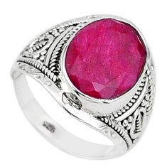 925 sterling silver 5.28cts solitaire natural red ruby oval ring size 7.5 t15465