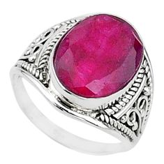 925 sterling silver 5.88cts solitaire natural red ruby oval ring size 6.5 t15471