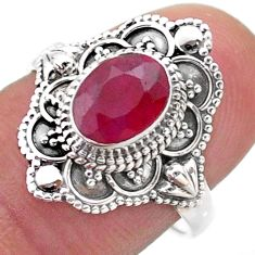 925 sterling silver 1.99cts solitaire natural red ruby oval ring size 7.5 t46659