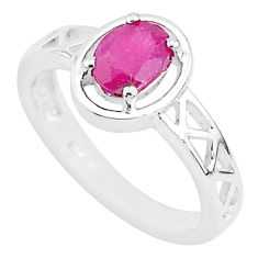 925 sterling silver 1.47cts solitaire natural red ruby oval ring size 7.5 t5184