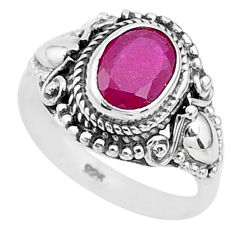 925 sterling silver 2.05cts solitaire natural red ruby ring jewelry size 6 t5304