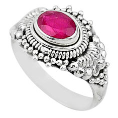 925 sterling silver 1.56cts solitaire natural red ruby ring jewelry size 6 t5413