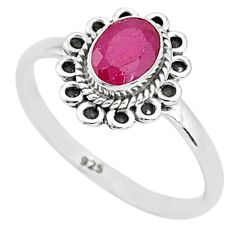 925 sterling silver 1.46cts solitaire natural red ruby ring jewelry size 6 t5440