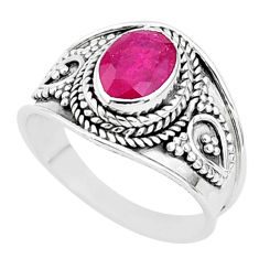 925 sterling silver 2.21cts solitaire natural red ruby ring jewelry size 7 t5144