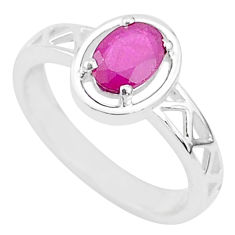 925 sterling silver 1.51cts solitaire natural red ruby ring jewelry size 7 t5198