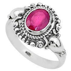 925 sterling silver 2.17cts solitaire natural red ruby ring jewelry size 7 t5324