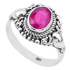 925 sterling silver 2.17cts solitaire natural red ruby ring jewelry size 7 t5331