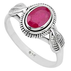 925 sterling silver 1.47cts solitaire natural red ruby ring jewelry size 7 t5404