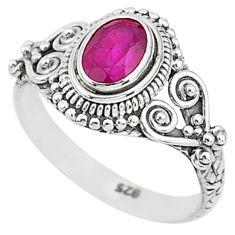 925 sterling silver 1.49cts solitaire natural red ruby ring jewelry size 8 t5434