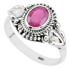 925 sterling silver 2.17cts solitaire natural red ruby ring jewelry size 9 t5347