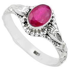 925 sterling silver 1.46cts solitaire natural red ruby ring jewelry size 9 t5407