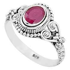 925 sterling silver 1.41cts solitaire natural red ruby ring jewelry size 9 t5416