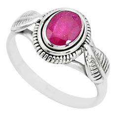 925 sterling silver 1.56cts solitaire natural red ruby ring jewelry size 9 t5424