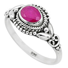 925 sterling silver 1.37cts solitaire natural red ruby ring jewelry size 9 t5450