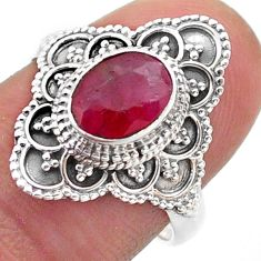 925 sterling silver 1.99cts solitaire natural red ruby ring size 7.5 t46640