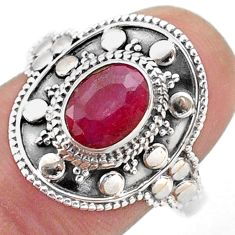 925 sterling silver 2.00cts solitaire natural red ruby ring size 9.5 t46678